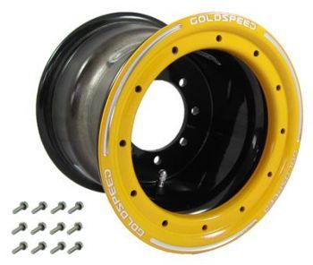 GS: 10X8 4/110/115 3+5 B BEAD LOCK SVART - GUL RING
